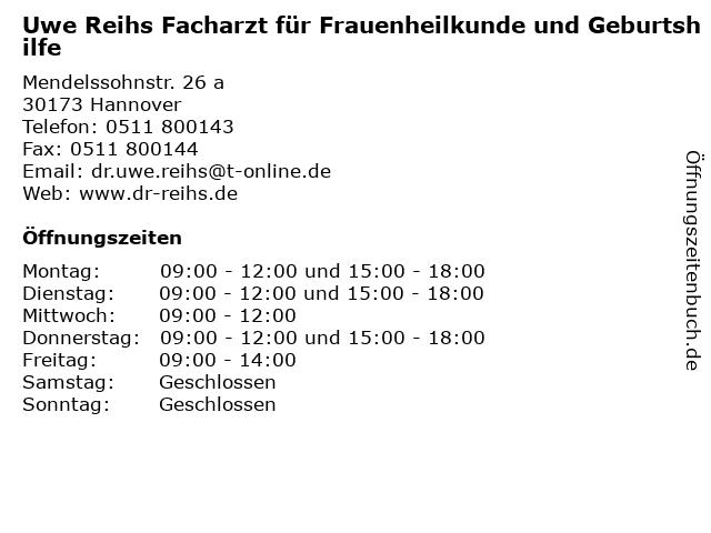 Uwe Reihs Facharzt für Frauenheilkunde und Geburtshilfe in Hannover: Adresse und Öffnungszeiten