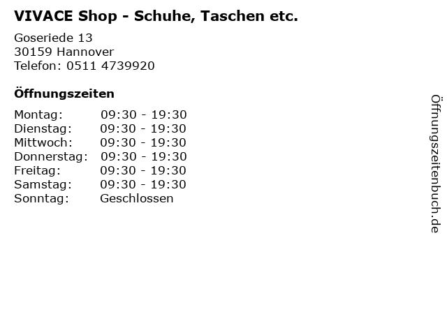VIVACE Shop - Schuhe, Taschen etc. in Hannover: Adresse und Öffnungszeiten