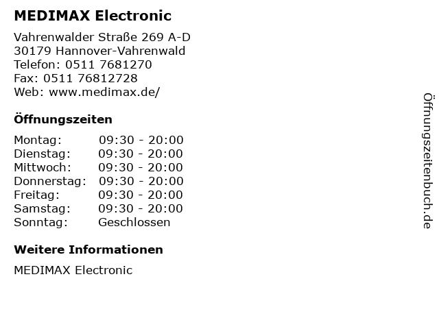MEDIMAX Electronic in Hannover-Vahrenwald: Adresse und Öffnungszeiten