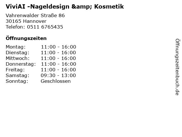 ViviAI -Nageldesign & Kosmetik in Hannover: Adresse und Öffnungszeiten