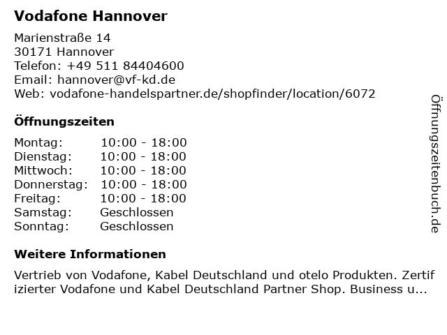 Vodafone Hannover in Hannover: Adresse und Öffnungszeiten