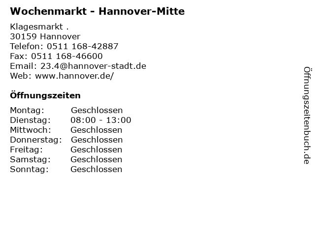 Wochenmarkt - Hannover-Mitte in Hannover: Adresse und Öffnungszeiten