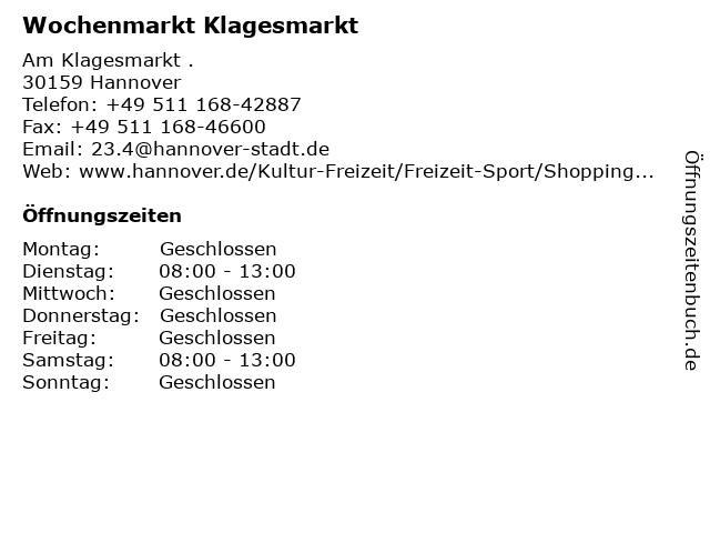 Wochenmarkt Klagesmarkt in Hannover: Adresse und Öffnungszeiten