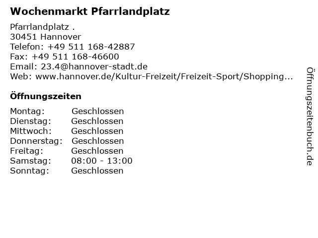 Wochenmarkt Pfarrlandplatz in Hannover: Adresse und Öffnungszeiten