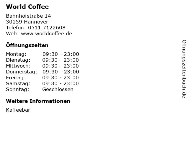 World Coffee in Hannover: Adresse und Öffnungszeiten