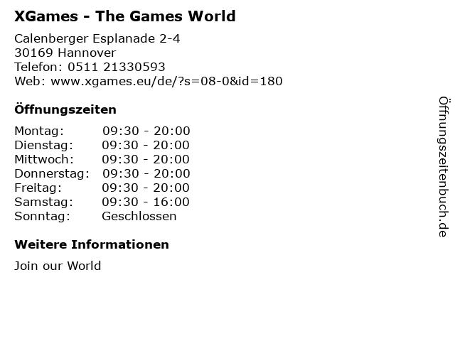 XGames - The Games World in Hannover: Adresse und Öffnungszeiten