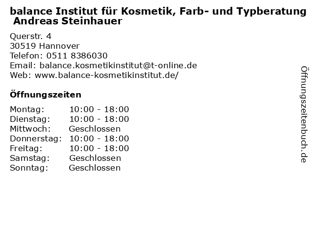 balance Institut für Kosmetik, Farb- und Typberatung Andreas Steinhauer in Hannover: Adresse und Öffnungszeiten