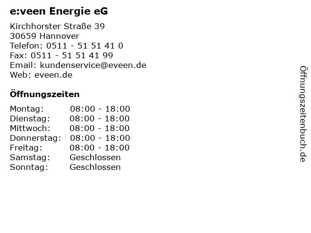 e:veen Energie eG in Hannover: Adresse und Öffnungszeiten