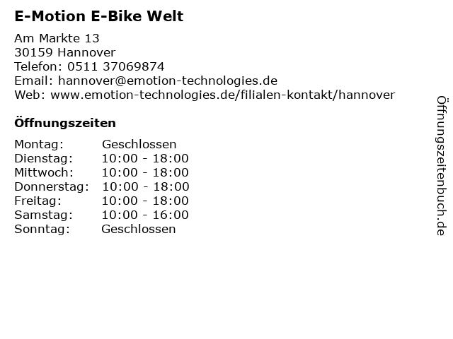 e-motion e-Bike Premium-Shop Hannover in Hannover: Adresse und Öffnungszeiten