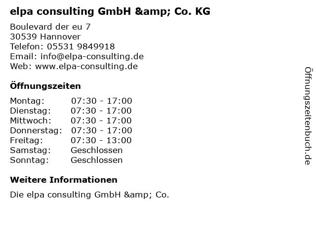 elpa consulting GmbH & Co. KG in Hannover: Adresse und Öffnungszeiten