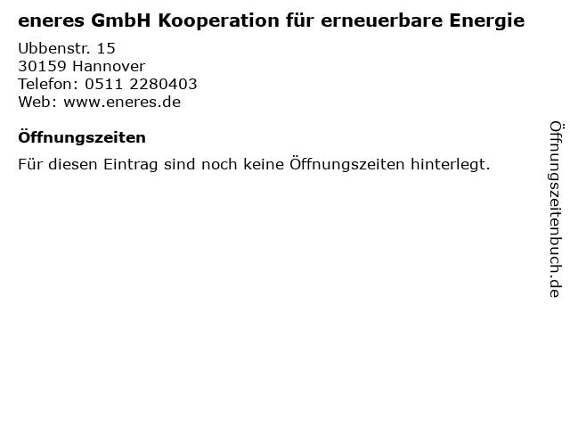 eneres GmbH Kooperation für erneuerbare Energie in Hannover: Adresse und Öffnungszeiten