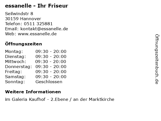 essanelle - Ihr Friseur in Hannover: Adresse und Öffnungszeiten