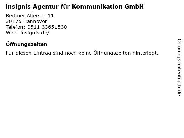 insignis Agentur für Kommunikation GmbH in Hannover: Adresse und Öffnungszeiten