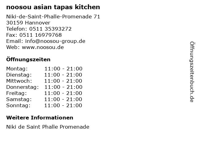 noosou asian tapas kitchen in Hannover: Adresse und Öffnungszeiten