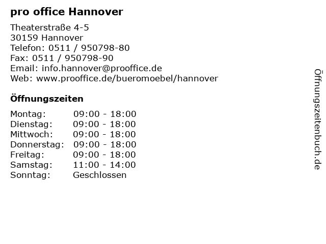 pro office Hannover in Hannover: Adresse und Öffnungszeiten