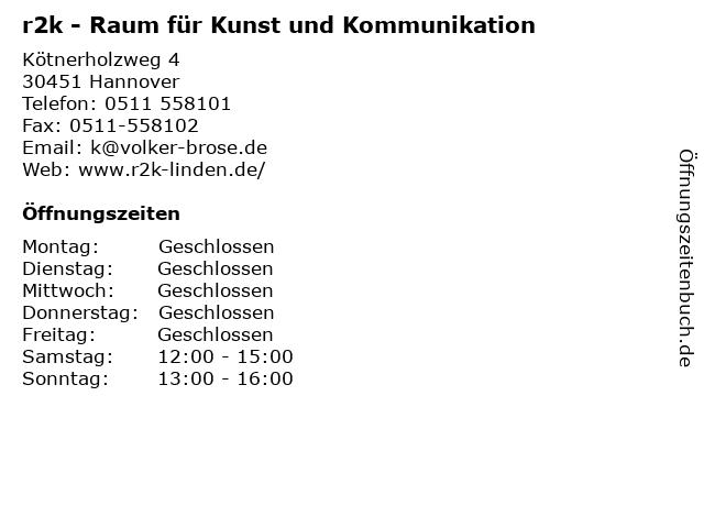 r2k - Raum für Kunst und Kommunikation in Hannover: Adresse und Öffnungszeiten