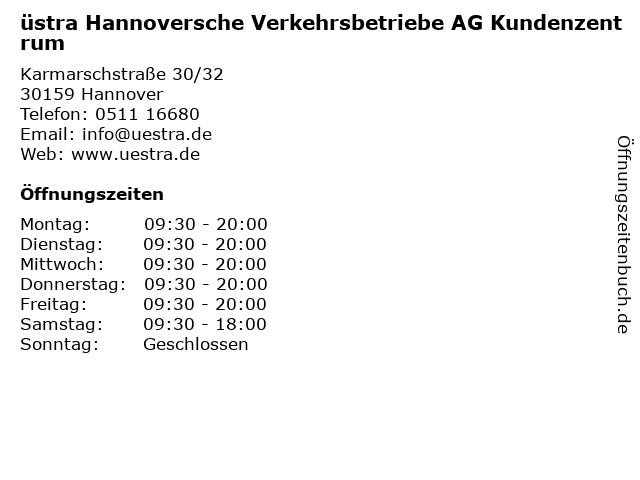 üstra Hannoversche Verkehrsbetriebe AG Kundenzentrum in Hannover: Adresse und Öffnungszeiten