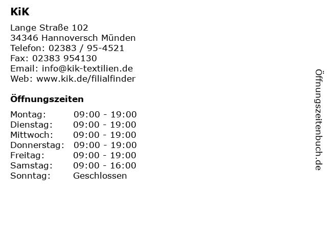 KiK in Hannoversch Münden: Adresse und Öffnungszeiten