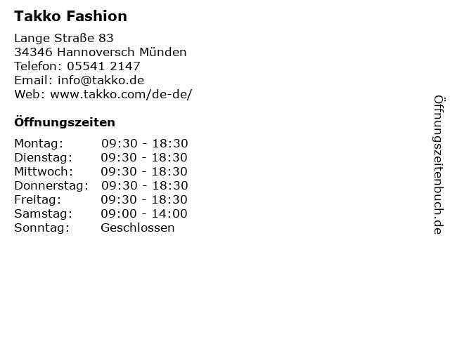 Takko Fashion in Hannoversch Münden: Adresse und Öffnungszeiten