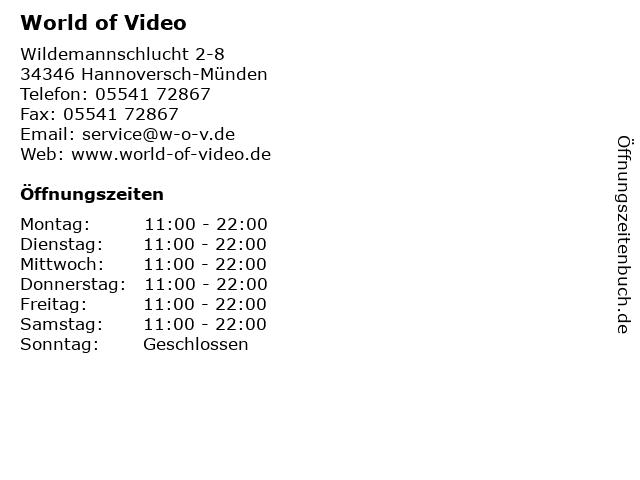 World of Video in Hannoversch-Münden: Adresse und Öffnungszeiten