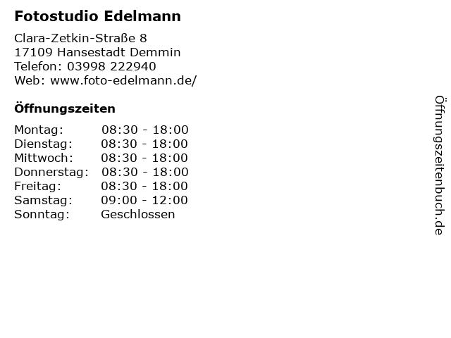 Fotostudio Edelmann in Hansestadt Demmin: Adresse und Öffnungszeiten