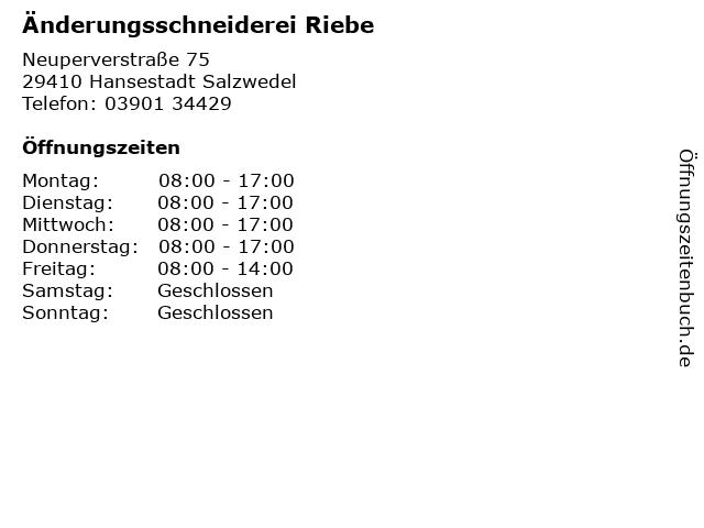 Änderungsschneiderei Riebe in Hansestadt Salzwedel: Adresse und Öffnungszeiten