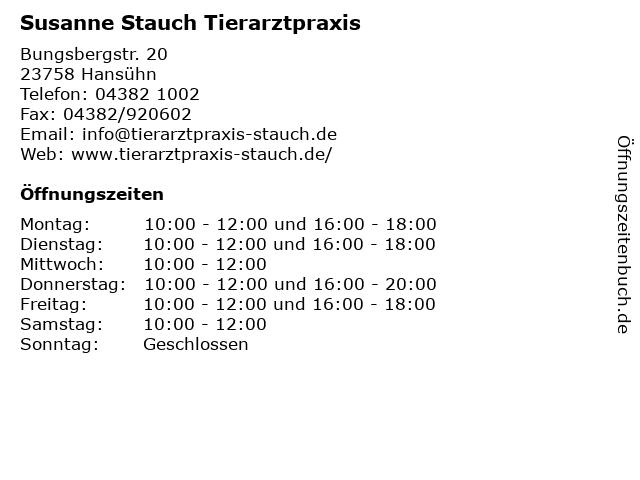 Susanne Stauch Tierarztpraxis in Hansühn: Adresse und Öffnungszeiten