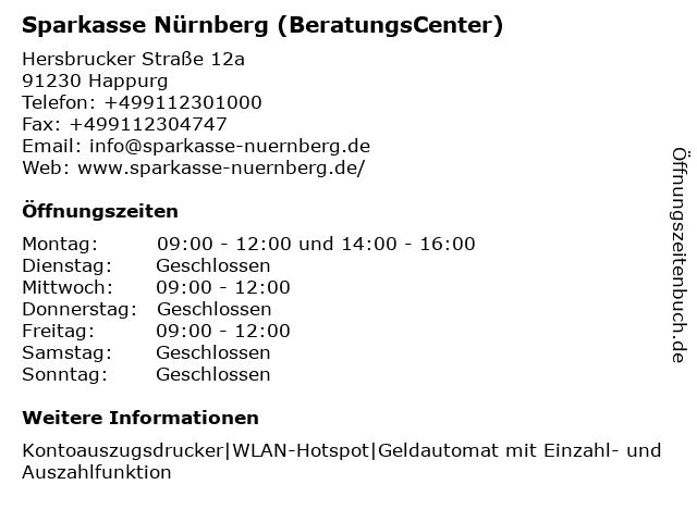 Sparkasse Nürnberg - Geschäftsstelle Hartmannshof in Happurg: Adresse und Öffnungszeiten