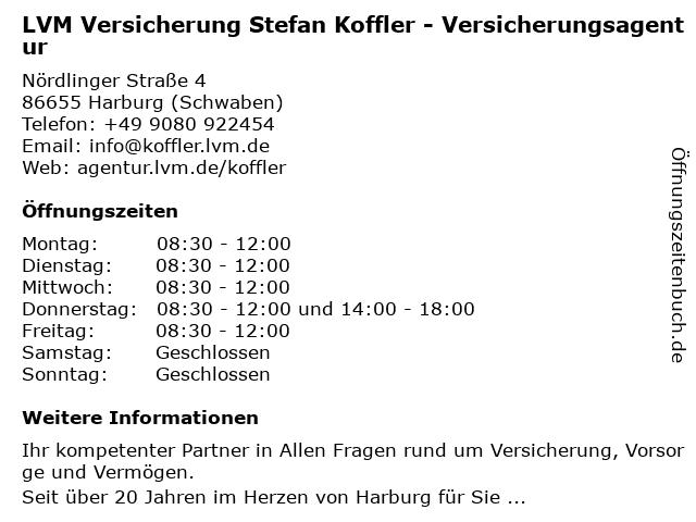 LVM Versicherung Stefan Koffler - Versicherungsagentur in Harburg (Schwaben): Adresse und Öffnungszeiten