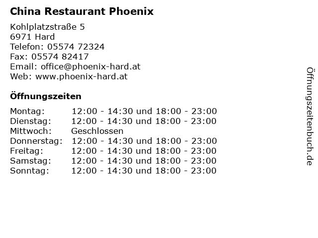 China Restaurant Phoenix in Hard: Adresse und Öffnungszeiten
