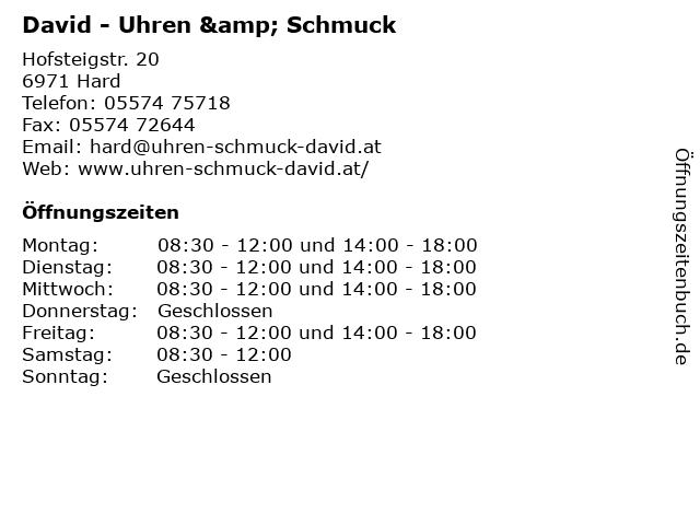 David - Uhren & Schmuck in Hard: Adresse und Öffnungszeiten