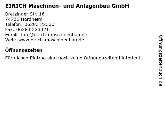 EIRICH Maschinen- und Anlagenbau GmbH in Hardheim: Adresse und Öffnungszeiten