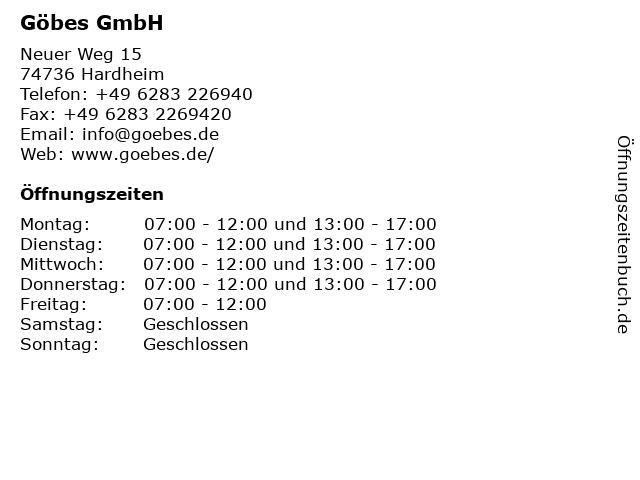Göbes GmbH in Hardheim-Schweinberg: Adresse und Öffnungszeiten