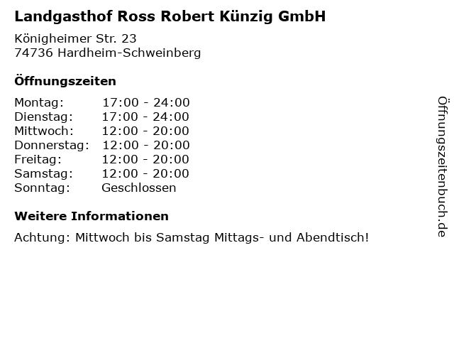 Landgasthof Ross Robert Künzig GmbH in Hardheim-Schweinberg: Adresse und Öffnungszeiten