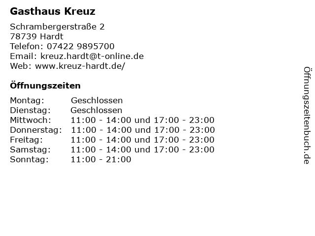 Gasthaus Kreuz in Hardt: Adresse und Öffnungszeiten
