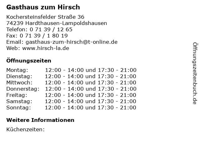 Gasthaus zum Hirsch in Hardthausen-Lampoldshausen: Adresse und Öffnungszeiten