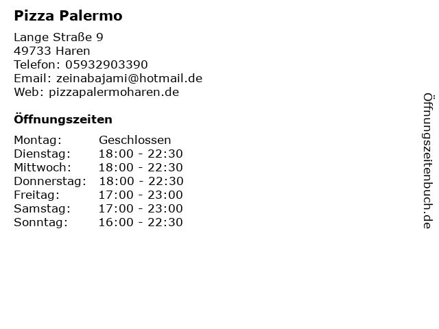 Pizza Palermo in Haren: Adresse und Öffnungszeiten