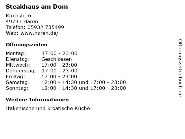 Steakhaus am Dom in Haren: Adresse und Öffnungszeiten