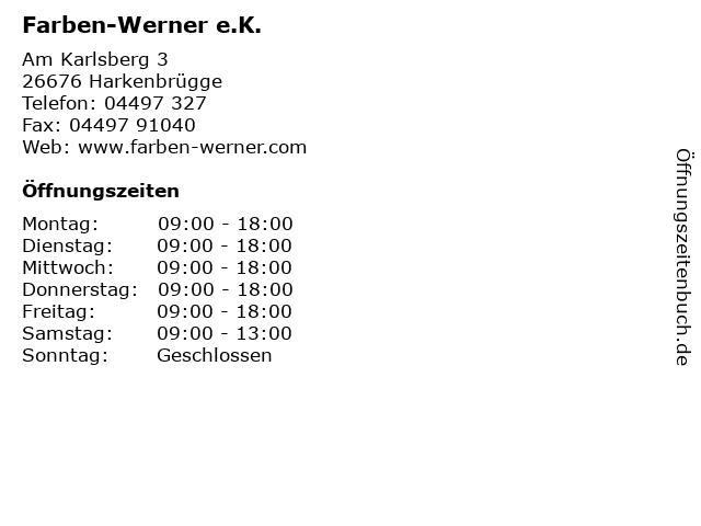 Farben-Werner e.K. in Harkenbrügge: Adresse und Öffnungszeiten