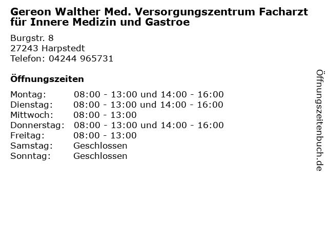Gereon Walther Med. Versorgungszentrum Facharzt für Innere Medizin und Gastroe in Harpstedt: Adresse und Öffnungszeiten