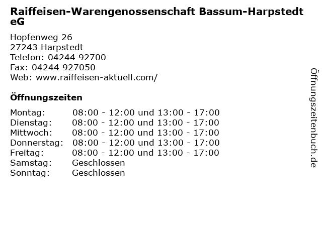 Raiffeisen-Warengenossenschaft Bassum-Harpstedt eG in Harpstedt: Adresse und Öffnungszeiten