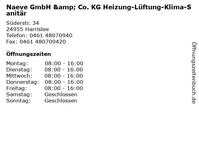 Naeve GmbH & Co. KG Heizung-Lüftung-Klima-Sanitär in Harrislee: Adresse und Öffnungszeiten