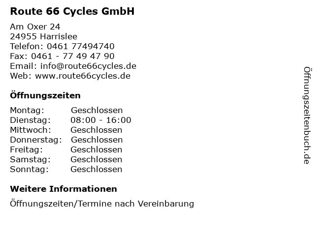 Route 66 Cycles GmbH in Harrislee: Adresse und Öffnungszeiten