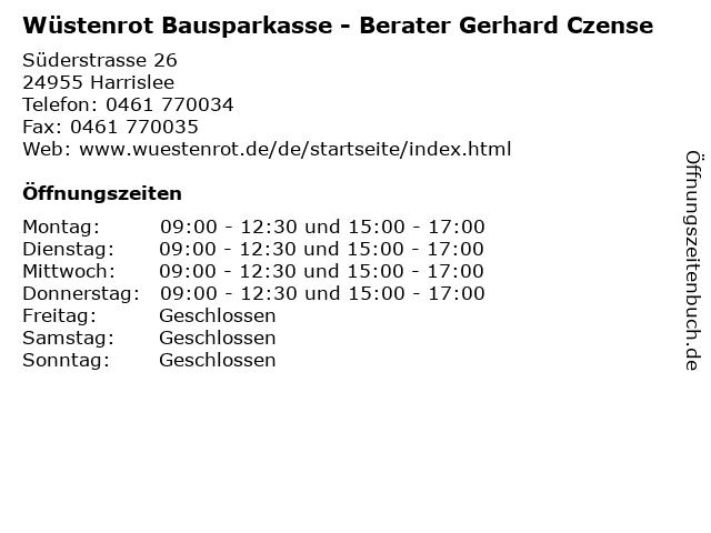 Wüstenrot Bausparkasse - Berater Gerhard Czense in Harrislee: Adresse und Öffnungszeiten