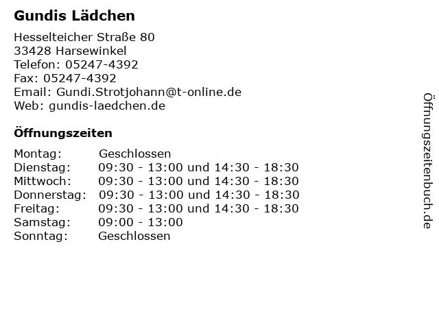 Gundis Lädchen in Harsewinkel: Adresse und Öffnungszeiten