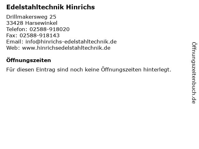 Hinrichs Edelstahltechnik in Harsewinkel: Adresse und Öffnungszeiten