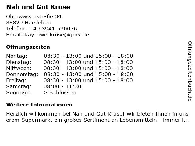 Nah und Gut Kruse in Harsleben: Adresse und Öffnungszeiten