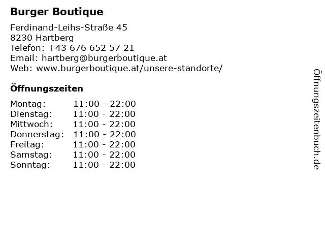 Burger Boutique in Hartberg: Adresse und Öffnungszeiten