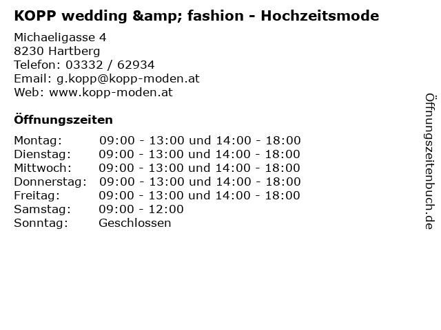 """ᐅ Öffnungszeiten """"KOPP wedding & fashion - Hochzeitsmode ..."""