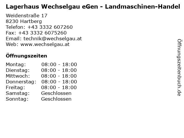 Lagerhaus Wechselgau eGen - Landmaschinen-Handel in Hartberg: Adresse und Öffnungszeiten